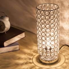 ZEEFO Crystal Table Lamp, Sturdy Decorative Room Lamp, Night Light Lamp, Table Lamps for Bedroom, Living Room, Kitchen, Dining Room (Silver)