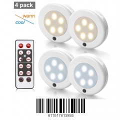 Focondot Puck Light, Wireless Under Cabinet Light with Remote Control, Brightness Adjustable and Two Switchable Different Color, for Kitchen(4 Pack)